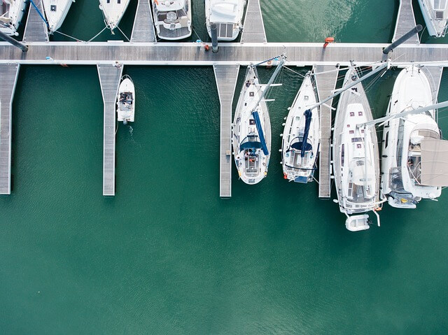 anchored boats and yachts in the marina